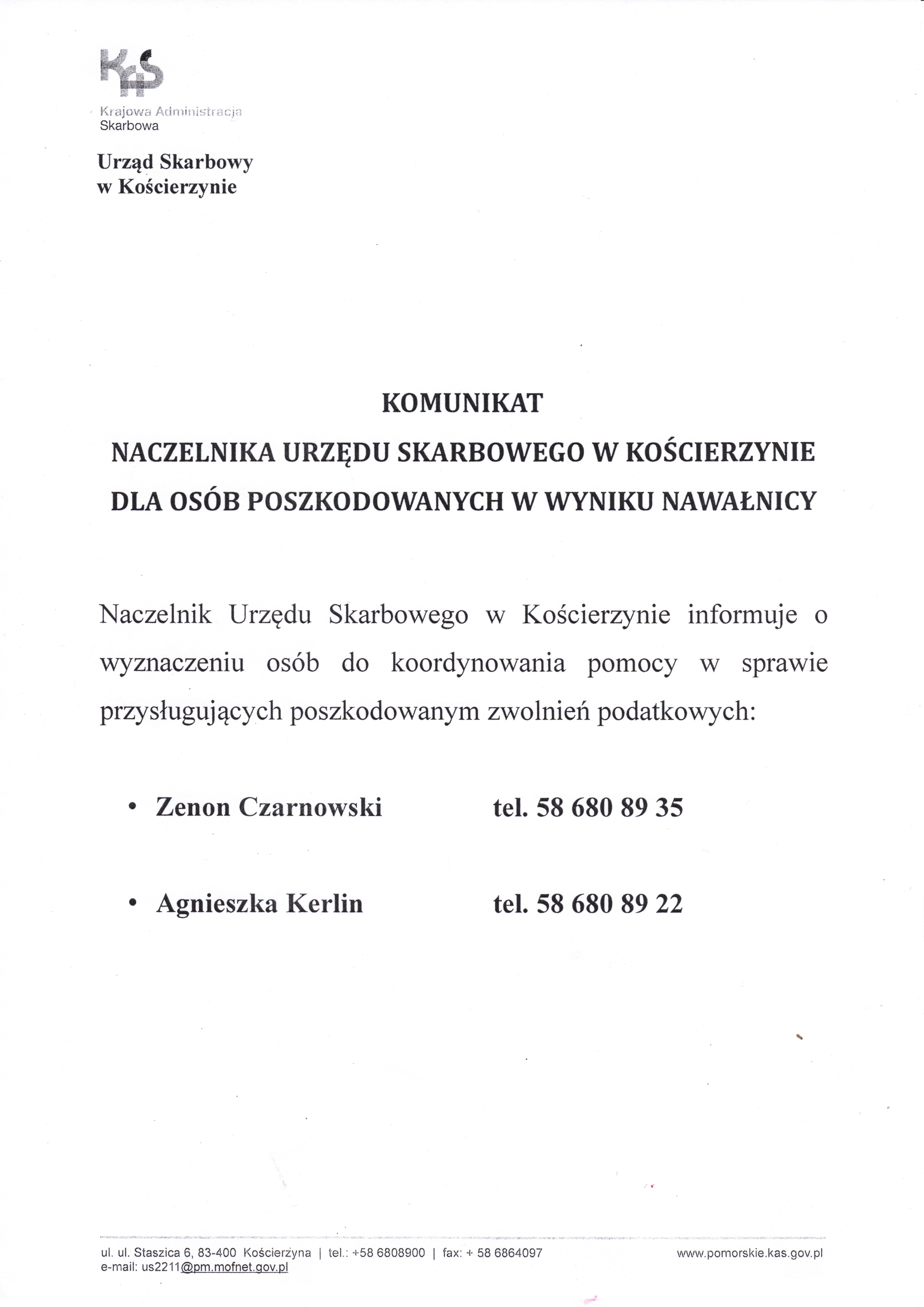 Komunikat Naczelnika Urzędu Skarbowego w Kościerzynie dla osób poszkodowanych w wyniku nawałnicy
