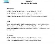 Plan zajęć sportowych – Animator Przemysław Kozłowski